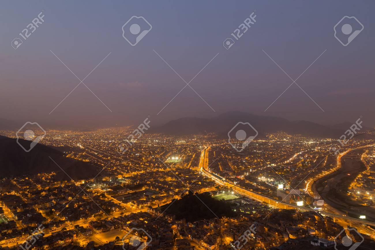 Panoramic view of the peruvian capital Lima from Cerro San Cristobal by night. - 55465067