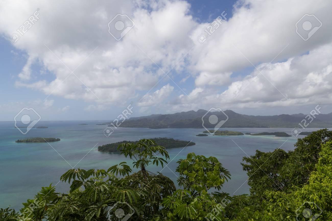 View of small islands of the Marovo Lagoon in Solomon Islands. - 56603531