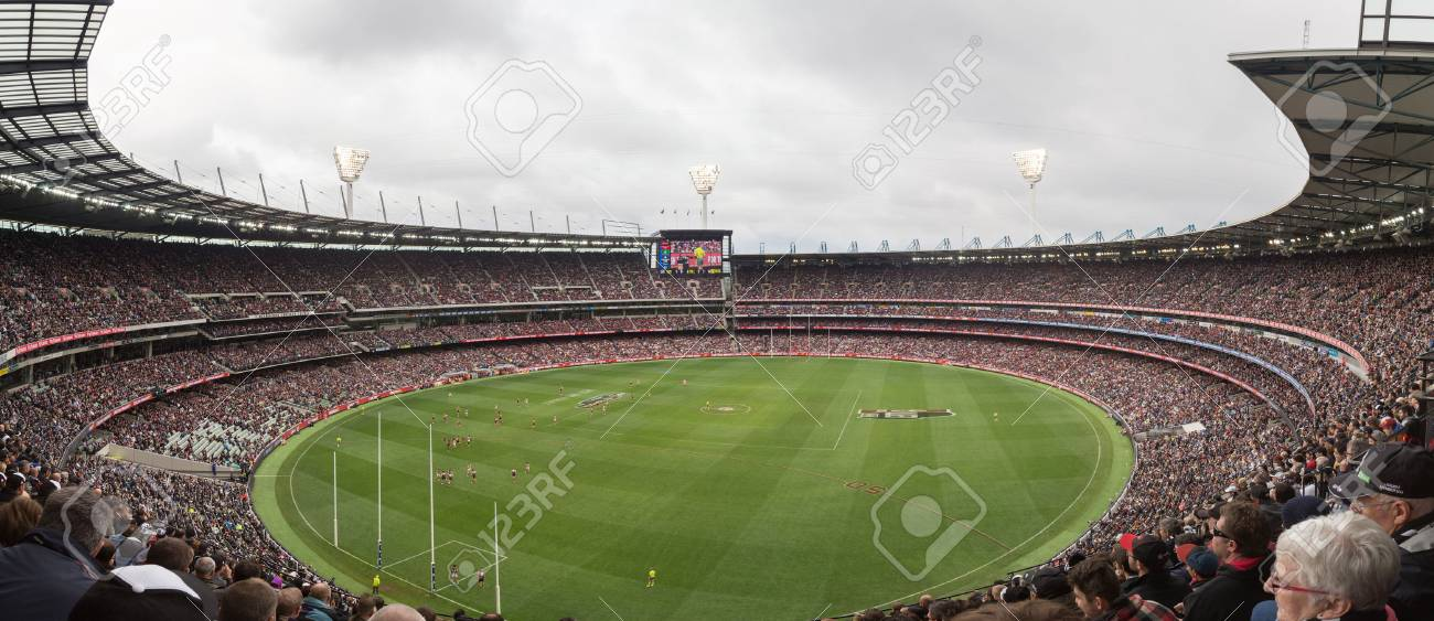 Melbourne, Australia - April 25, 2015: Panoramic view of Melbourne Cricket Ground on ANZAC Day 2015 - 56386805