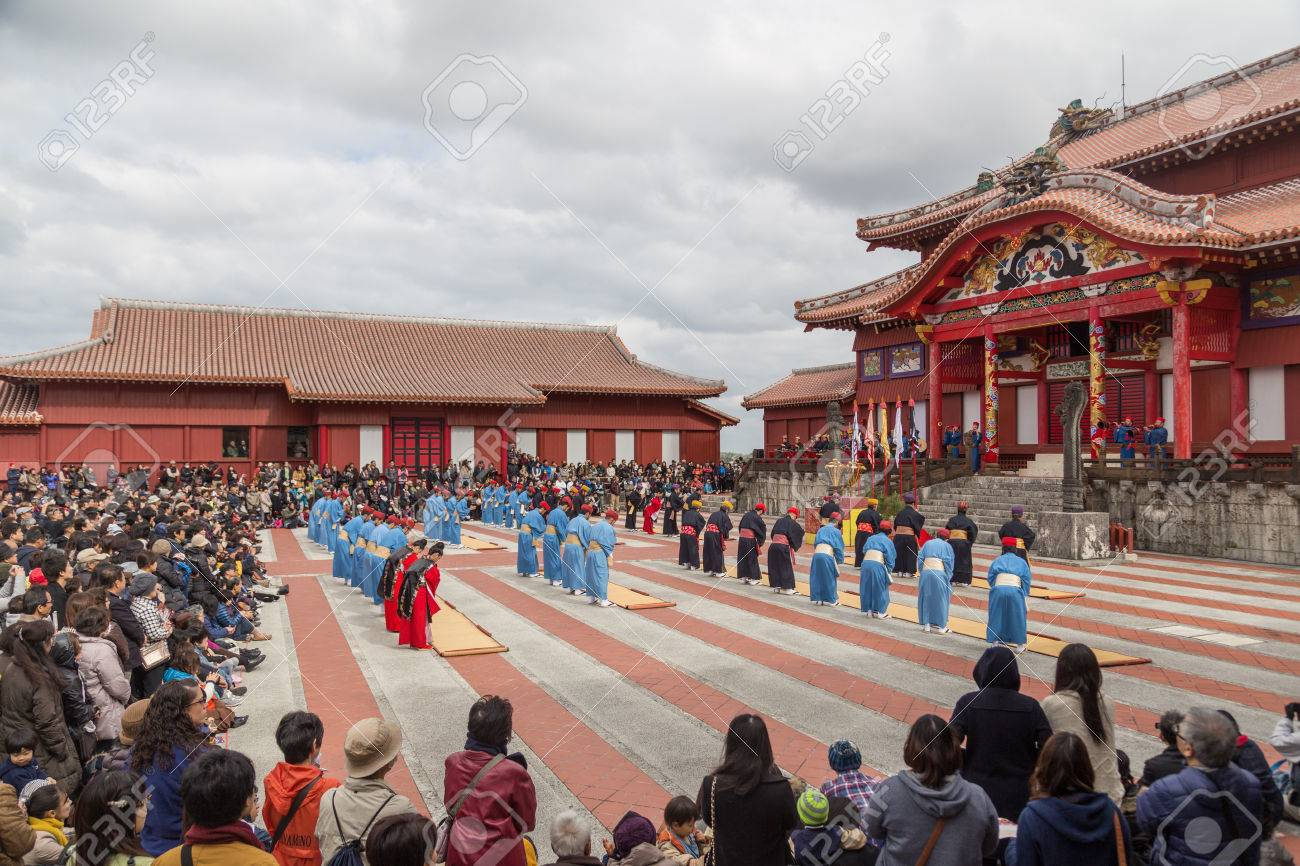 Okinawa, Japan - January 02, 2015: Dressed people at the traditional New Year celebration at Shuri-jo castle. - 57540835