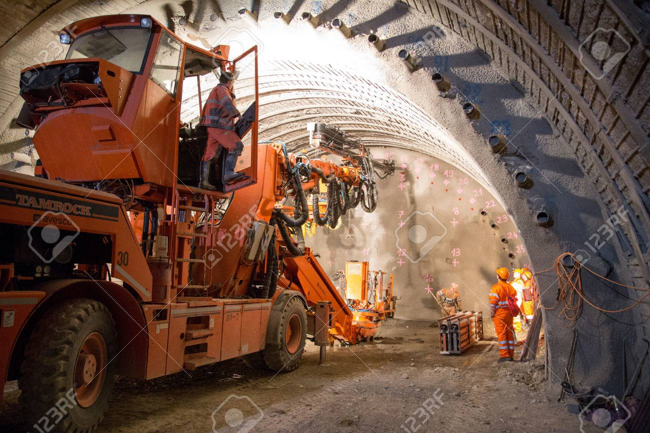 Geneva, Switzerland - May 22, 2014: Construction of piperoof grouting for tunnel construction - 63598513