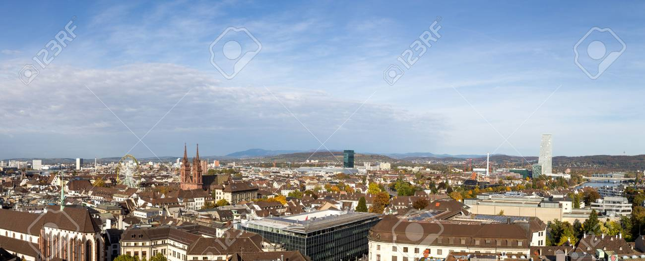 Basel, Switzerland - October 24, 2016: Panoramic view of the city - 68282845