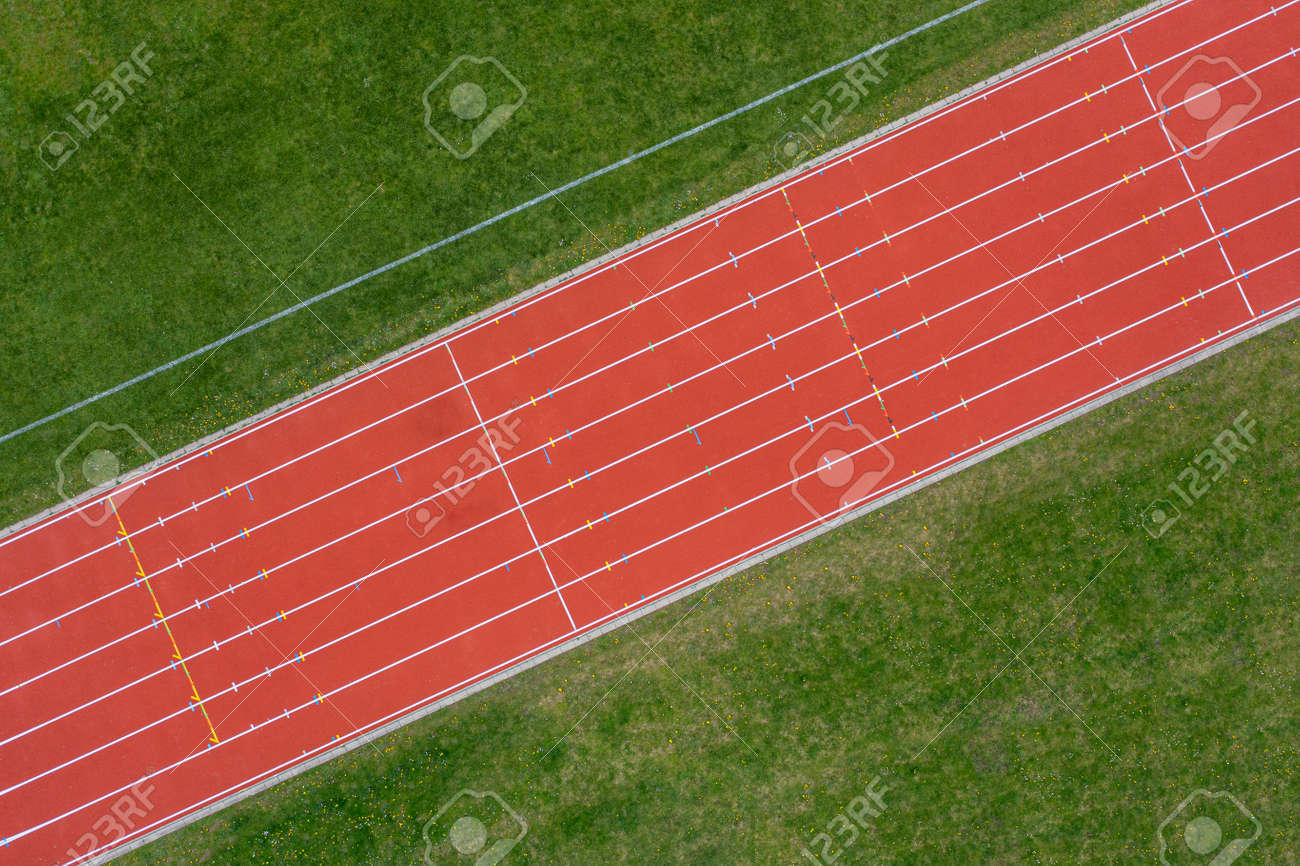 Aerial View of Red Running Track - 171348097