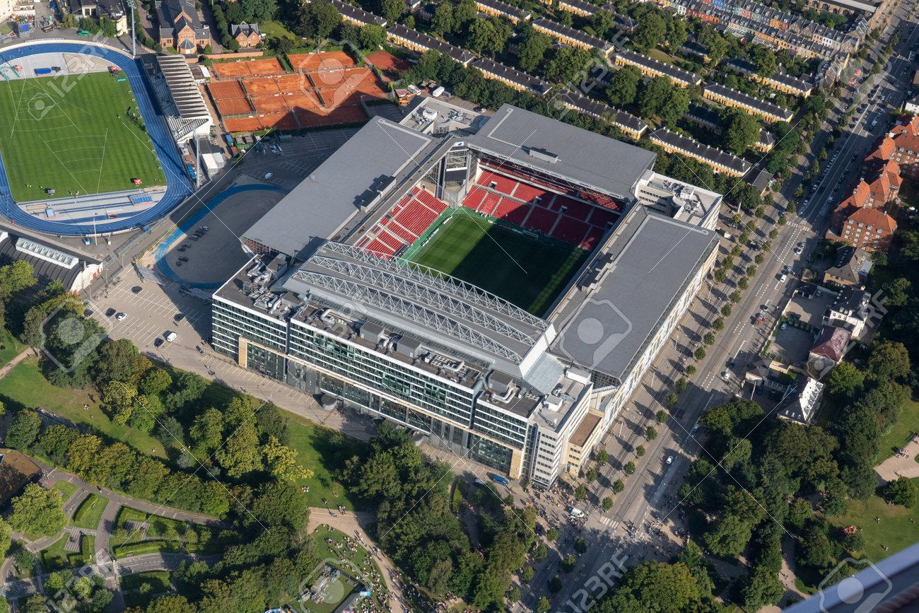 Aerial View of Parken Stadium in Copenhagen, Denmark - 173498492