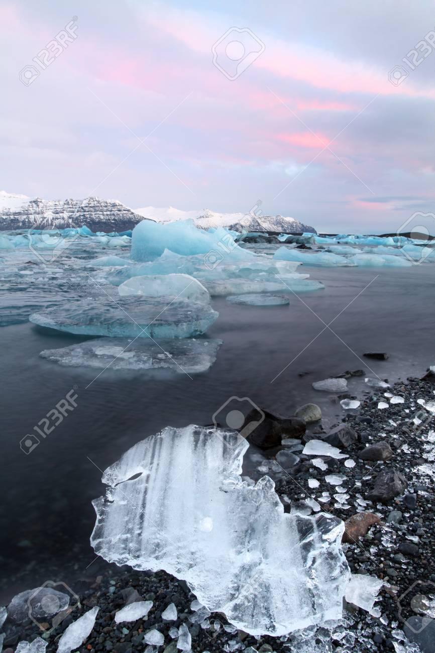 The glacier lagoon at sunrise in vatnajokull national parl Stock Photo - 17102936
