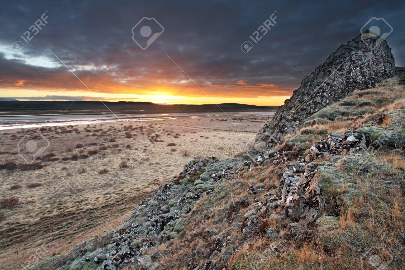 Stock Photo - Sunrise over barren lands in southern iceland