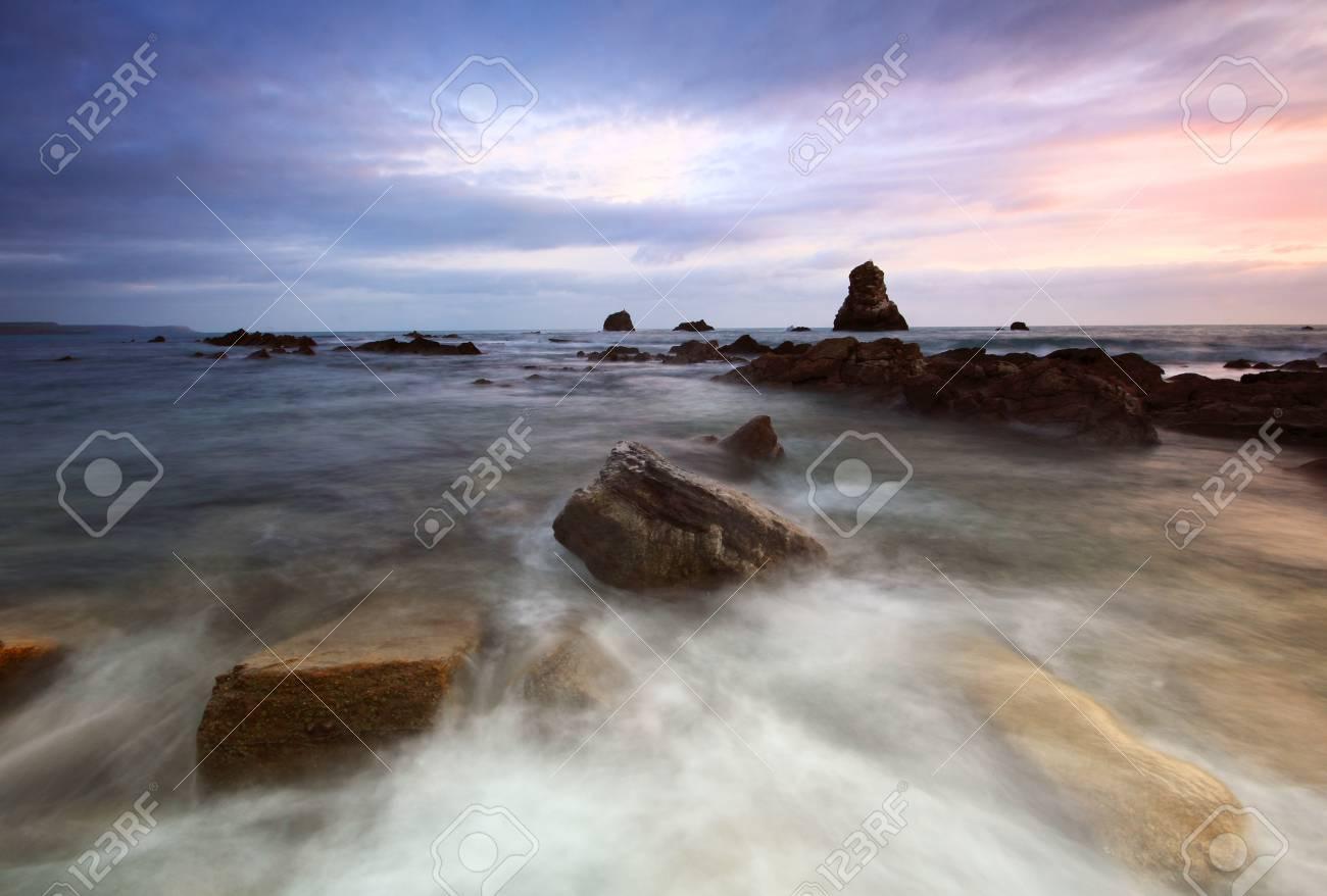 Rocks at Mupe Bay at sunset, Dorset Stock Photo - 17605090