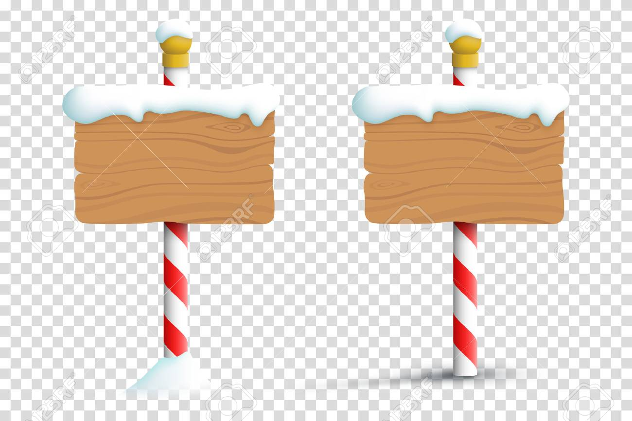 Christmas Winter Snow Blank Wooden Signs On A Transparent Background - 70666915