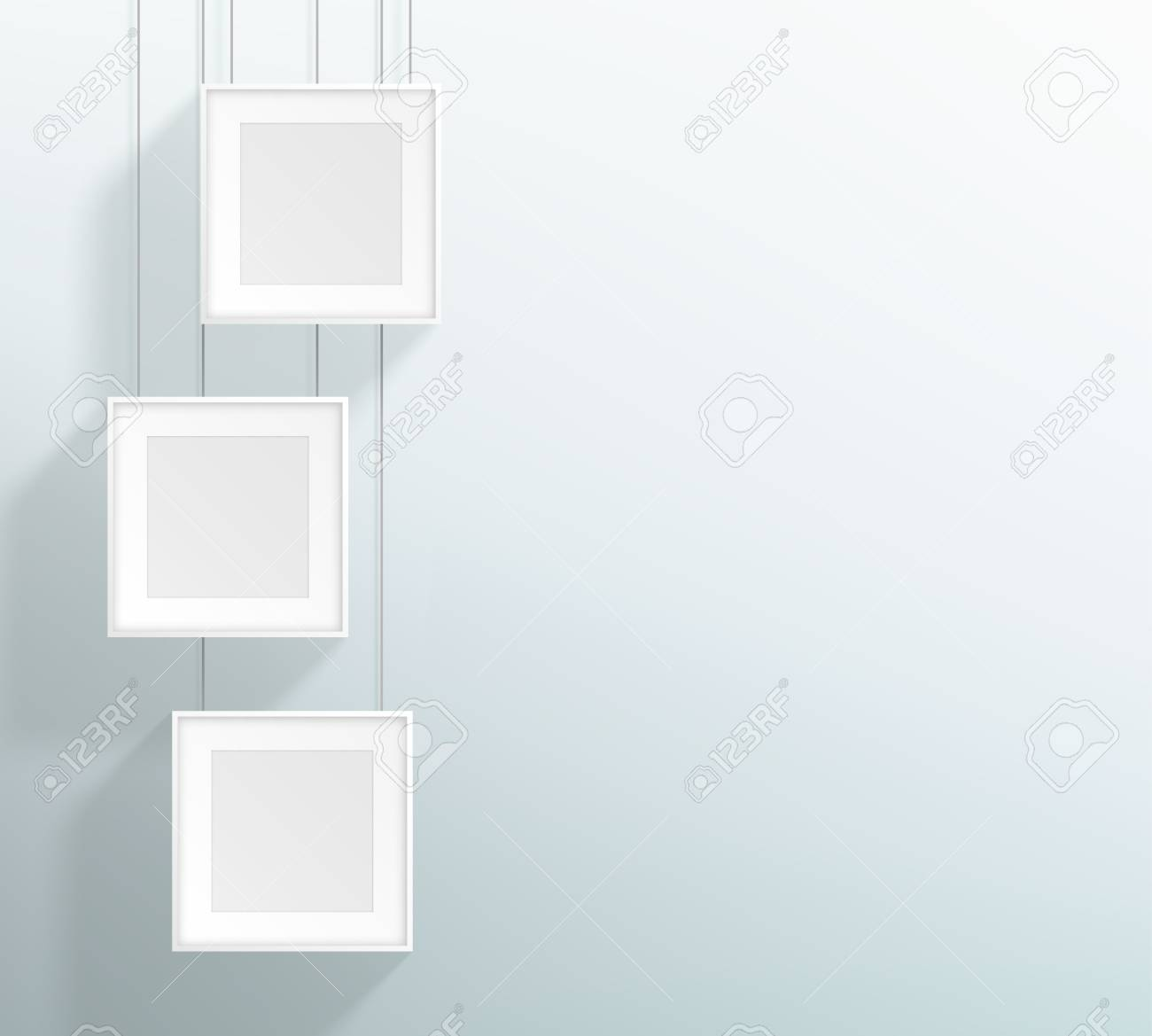 Vector 3 Blank White Realistic Square Hanging Frames Design Royalty ...