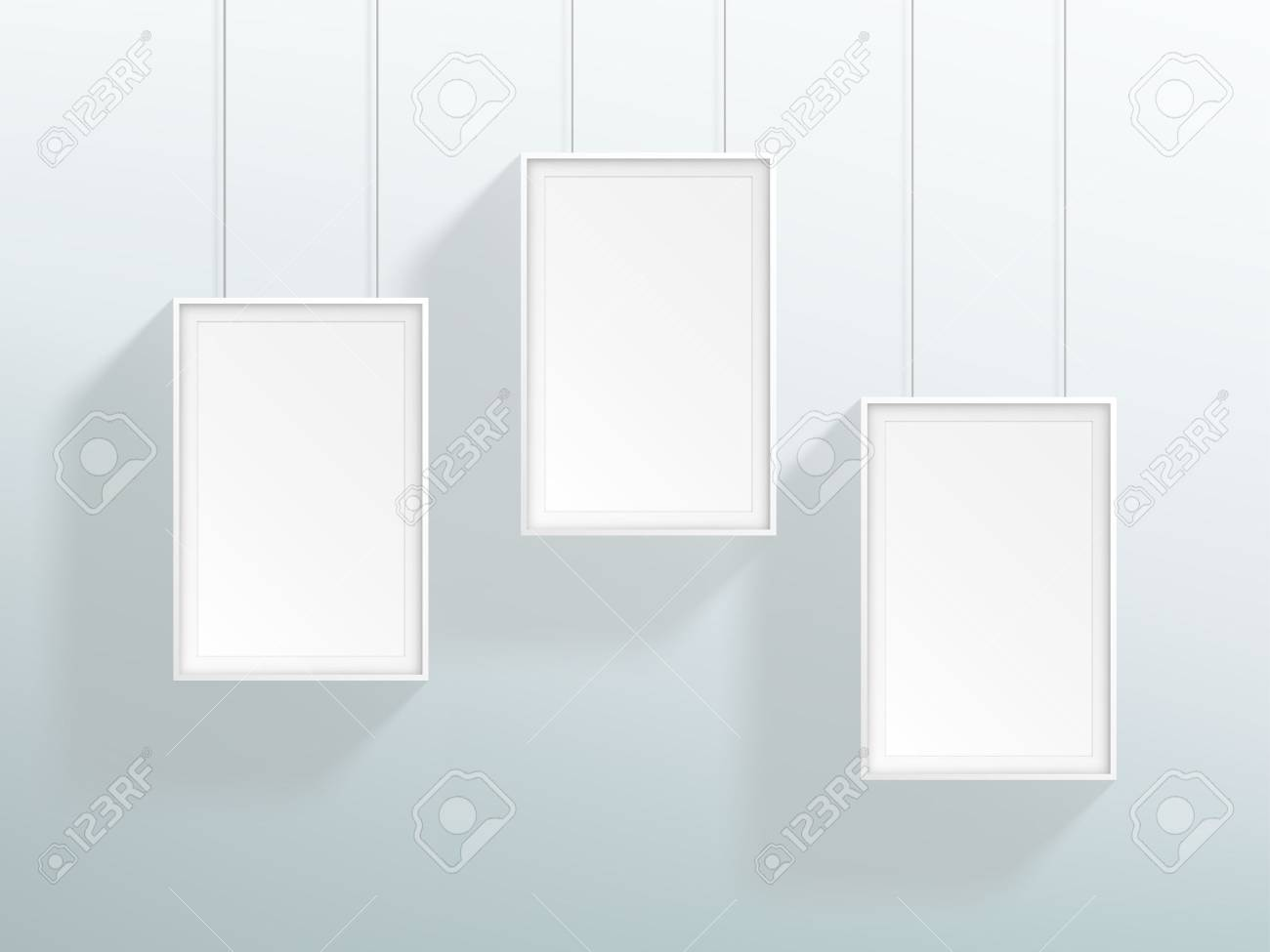 Vector 3 Blank White Realistic Hanging Frames Design Royalty Free ...