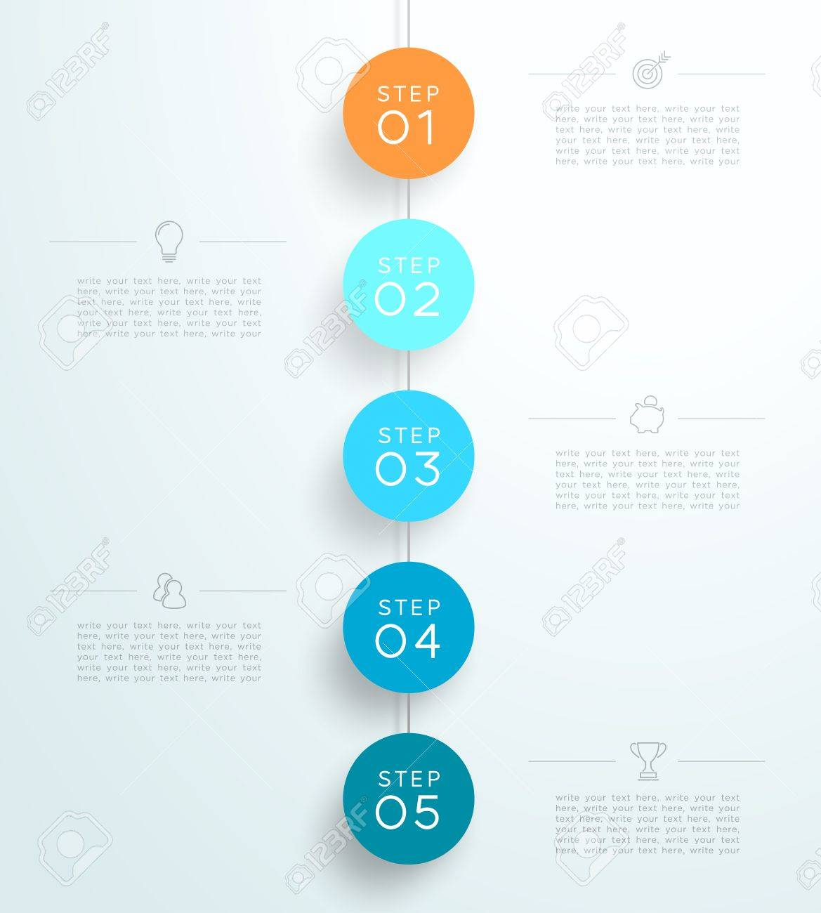 Infografía 5 3d Pasos Circulares Colgando Plantilla B Ilustraciones ...