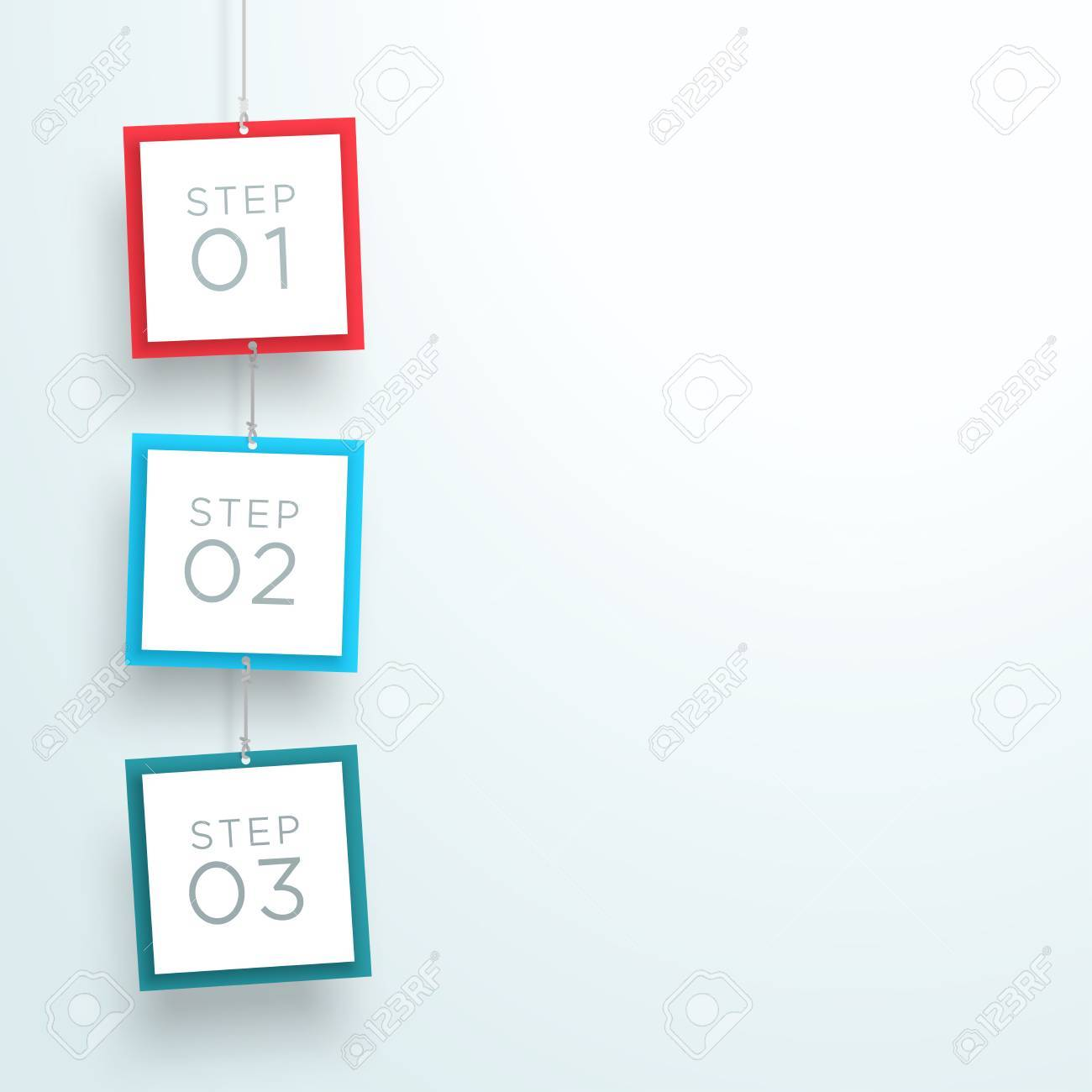 infographic 3 steps in 3d hanging signs template a royalty free