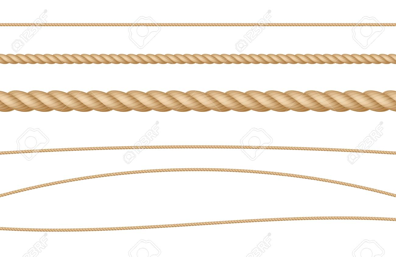 Rope String Natural Realistic Vector Illustration Set - 116874185