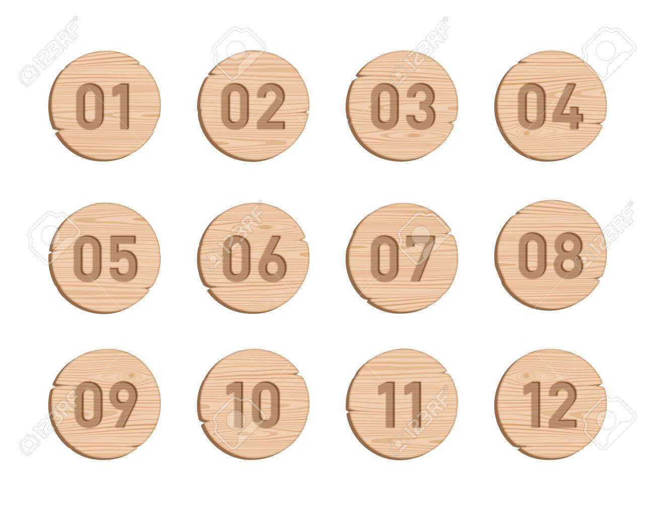 Wood Bullet Point Circles Number 1 to 12 Vector Set - 116874195