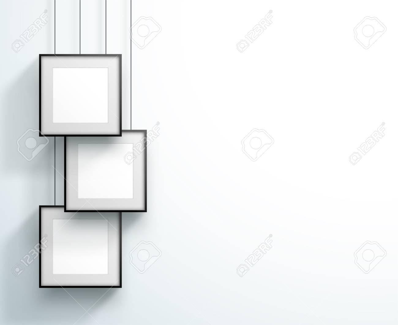 Photo Frame 3 Set Hanging Overlapping Square Design - 122008440