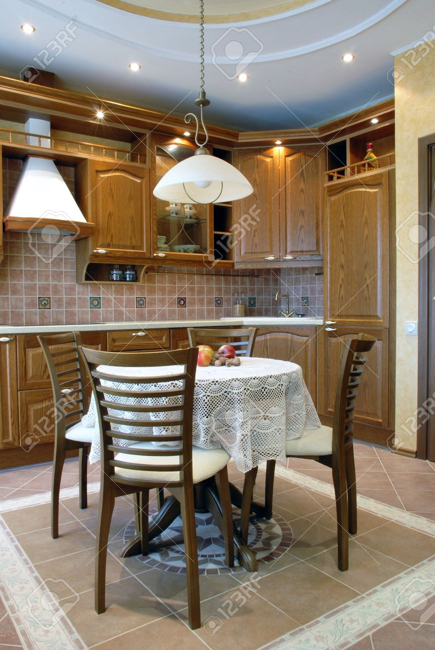 Cozy Kitchen Cozy Kitchen Walnut Cupboards Round Table Covered With Beautiful