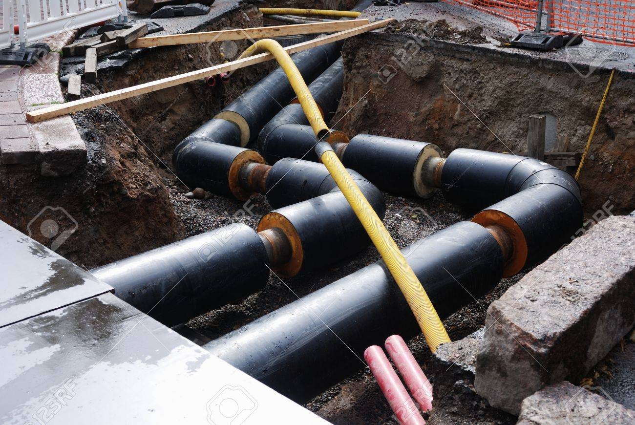 Construction Of Water Supply, Pipe In The Trench Stock Photo ...