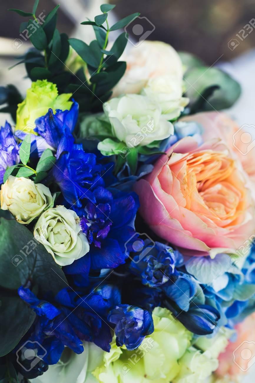 Hochzeit Bouquet Der Braut Bunten Blumen Rosa Weissen Rosen Und