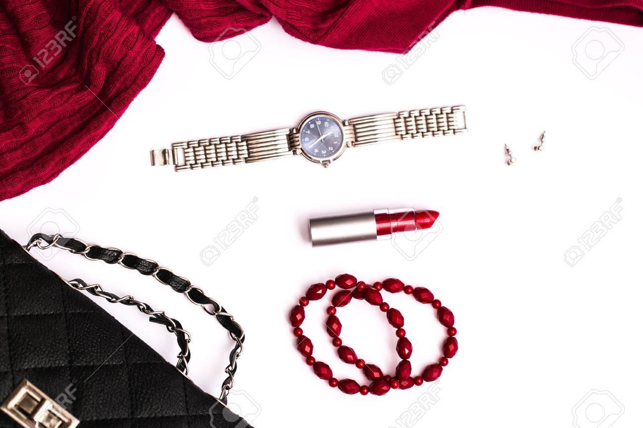 Fashion accessories on white background - 48754462