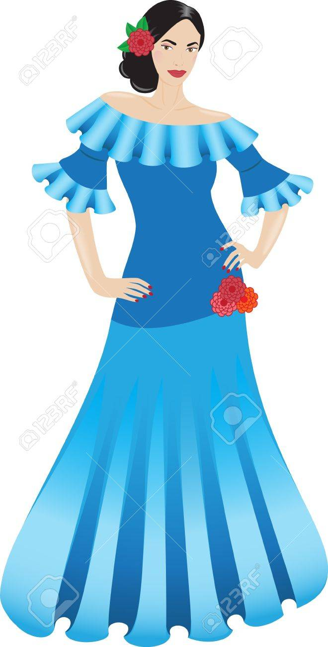 Beautiful Flamenco Dancer In A Blue Dress Royalty Free Cliparts ...