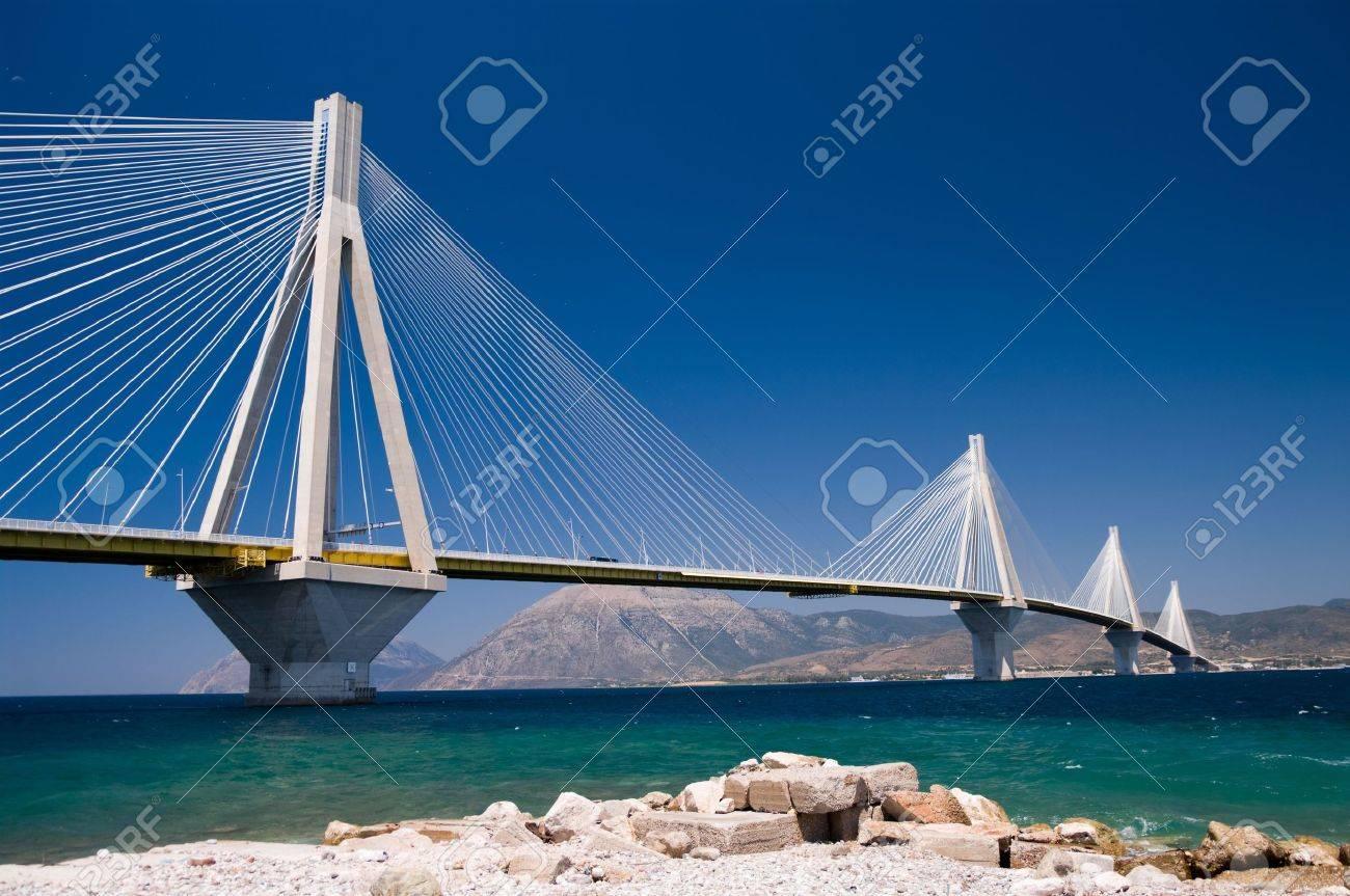 suspension bridge crossing Corinth Gulf strait, Greece. Is the world's second longest cable-stayed bridge; - 5831571