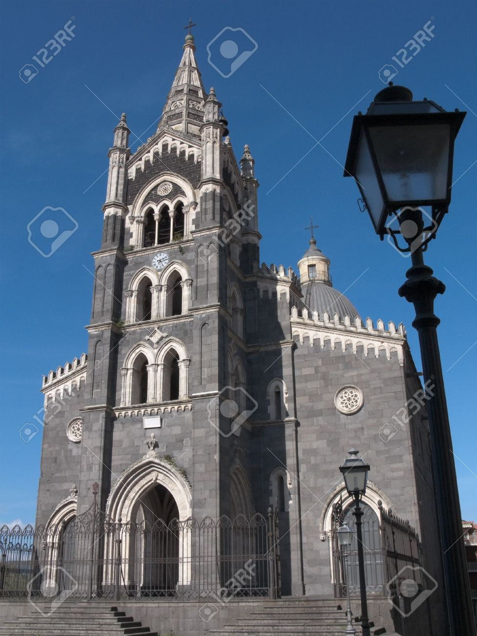 Gothic Cathedral In Black And White Stone Randazzo Sicily Stock Photo
