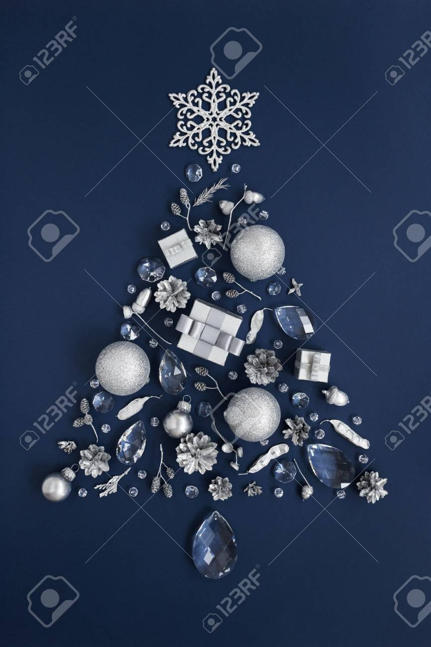 Luxury Shape Of New Year Tree Made Of Crystal And Silver Christmas Stock Photo Picture And Royalty Free Image Image 90617059