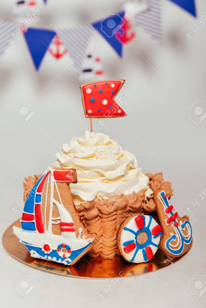Amazing Sea Theme Birthday Smash The Cake For Boy Biscuit Ship Anchor Funny Birthday Cards Online Inifofree Goldxyz