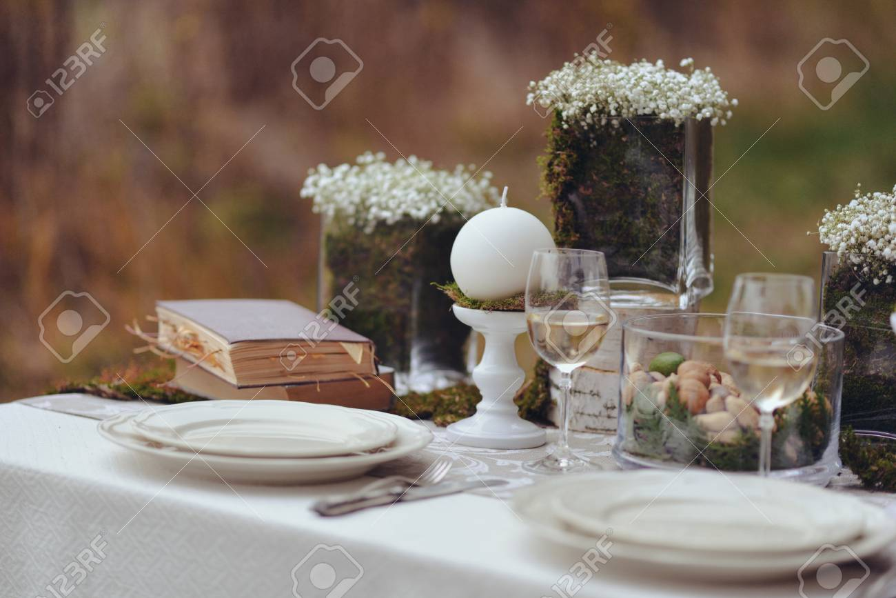 autumnal floristic decor. rustic wedding table setting Stock Photo - 87834431 & Autumnal Floristic Decor. Rustic Wedding Table Setting Stock Photo ...