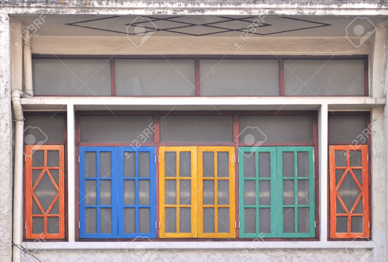 A Row Of Old Vintage Windows On A Street In The City Stock Photo Picture And Royalty Free Image Image 106147074