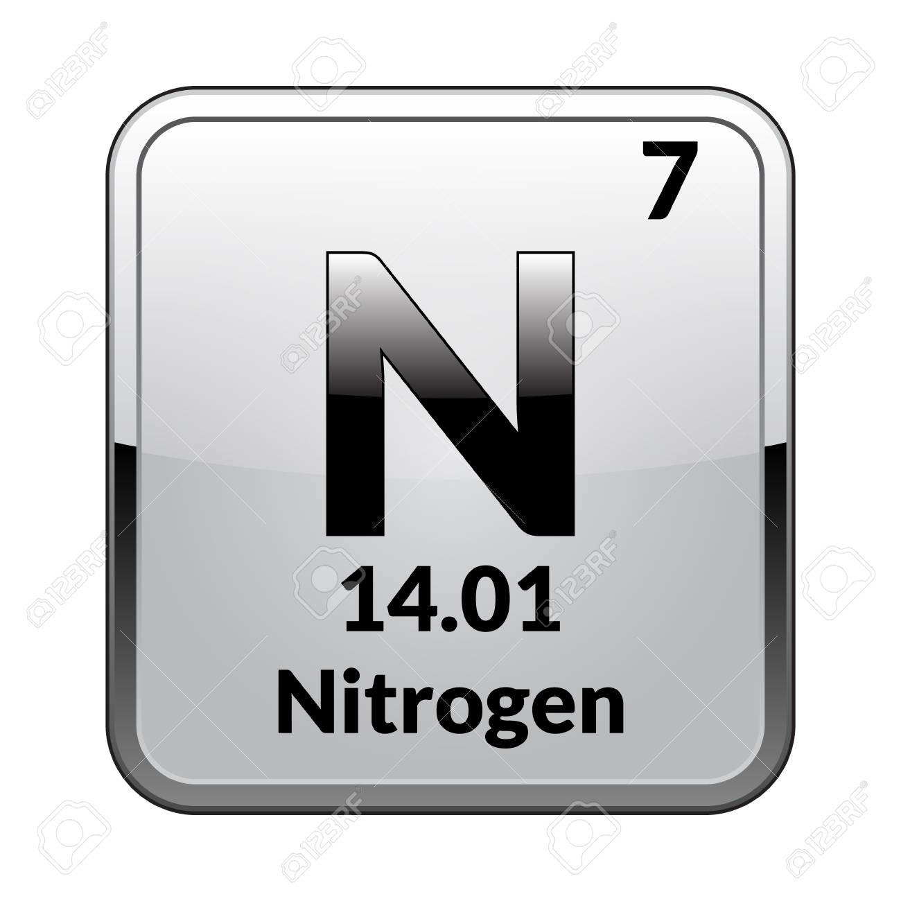 Nitrogen symbolemical element of the periodic table on a glossy nitrogen symbolemical element of the periodic table on a glossy white background in a urtaz Images