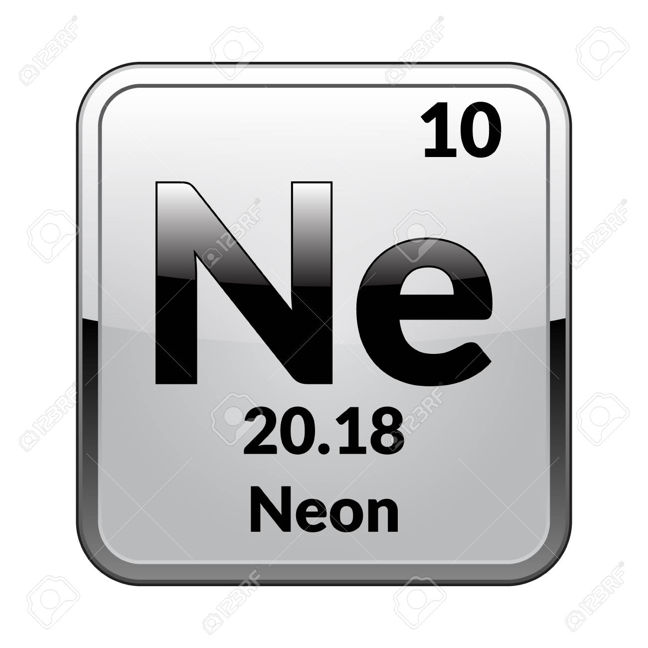 Attractive Neon Symbol.Chemical Element Of The Periodic Table On A Glossy White  Background In A