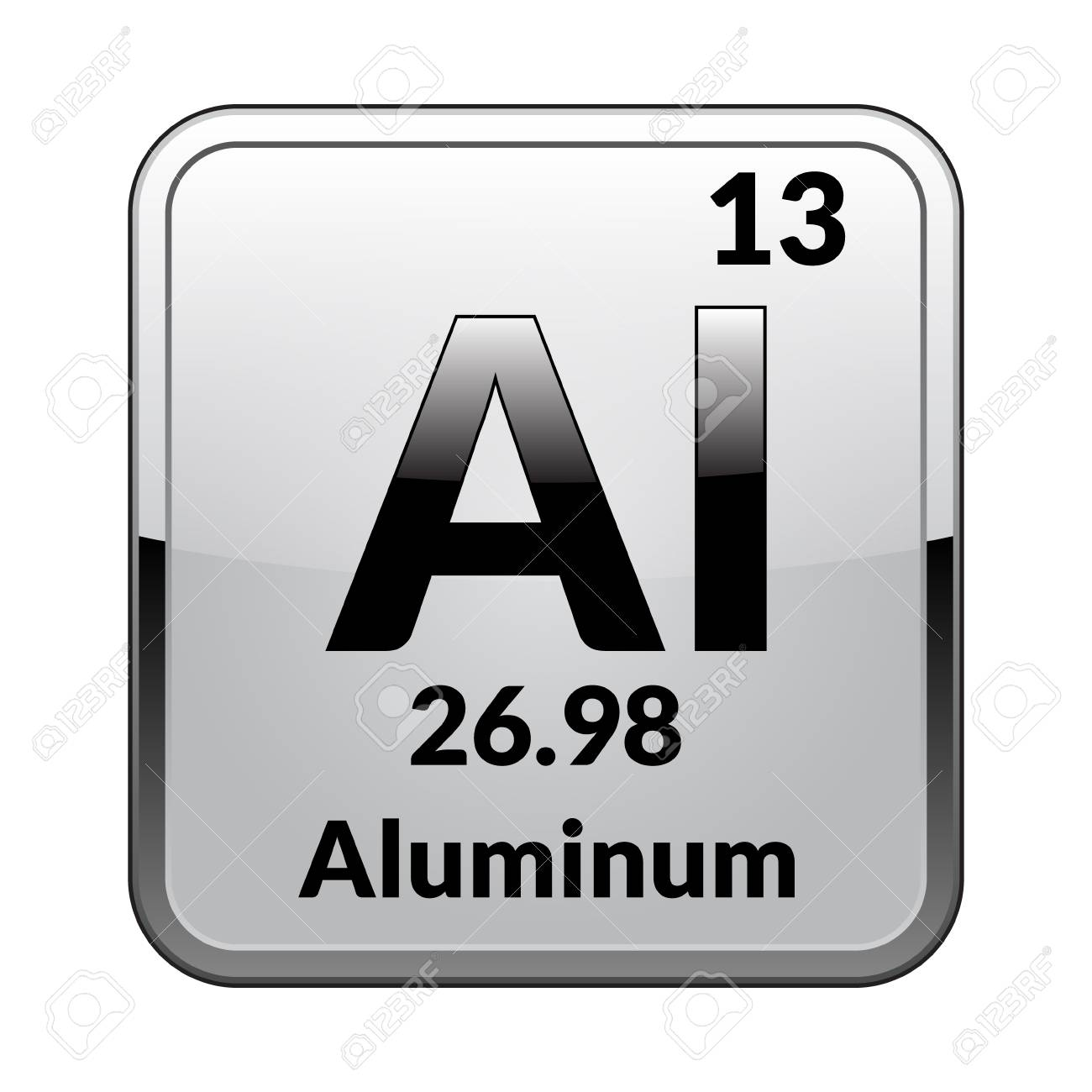 Aluminum Symbol Chemical Element Of The Periodic Table On A Glossy