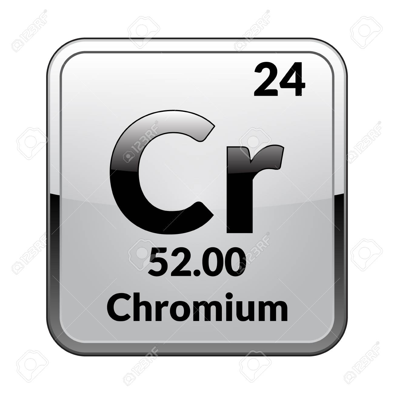 Chromium Symbolemical Element Of The Periodic Table On A Glossy