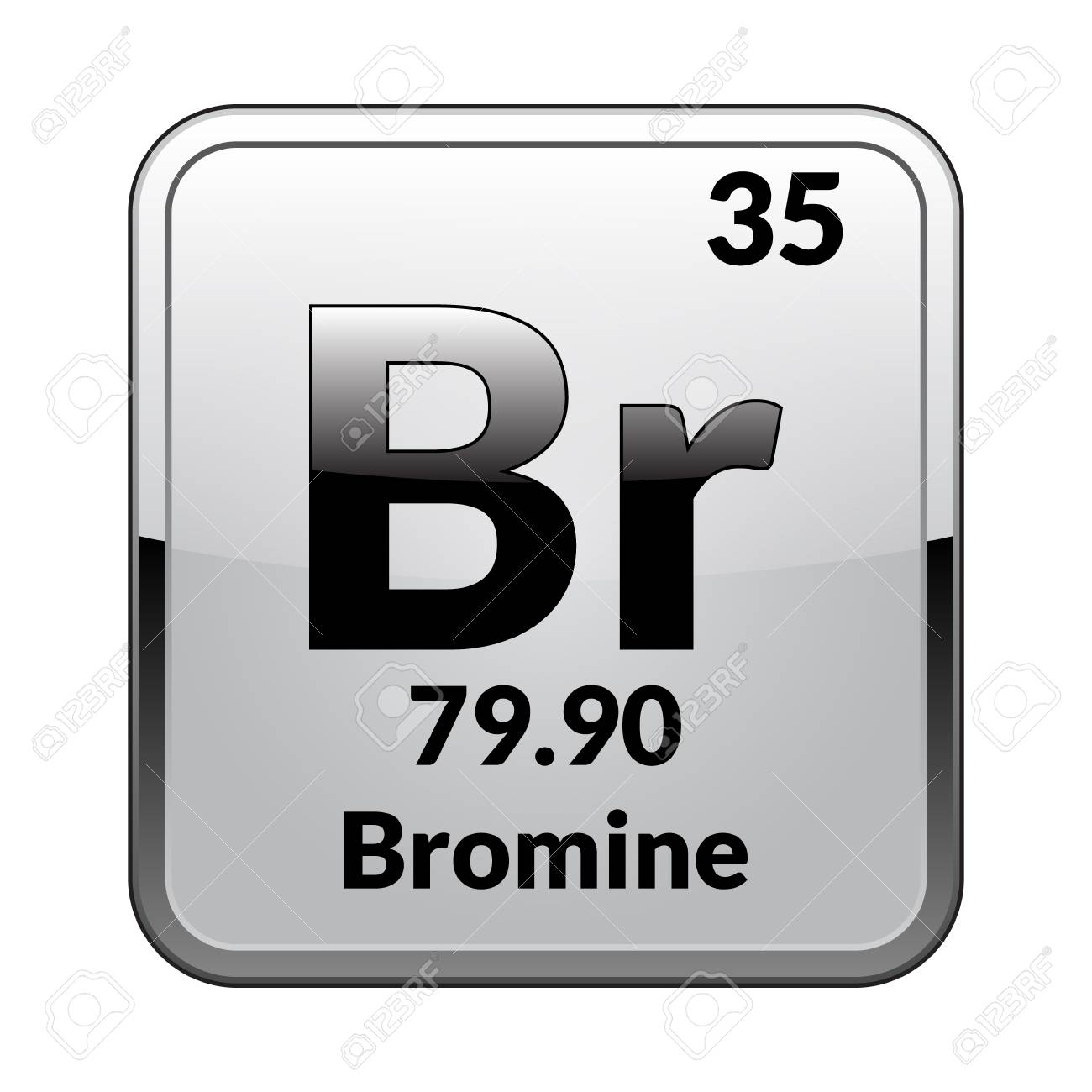 Bromine Symbol Chemical Element Of The Periodic Table On A Glossy