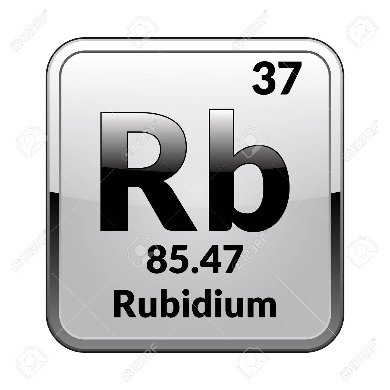 Rubidium symbolemical element of the periodic table on a glossy chemical element of the periodic table on a glossy white background in a urtaz Images