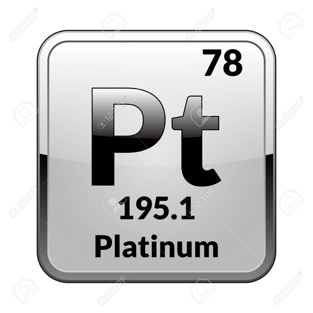 Platinum Symbol Chemical Element Of The Periodic Table On A Glossy