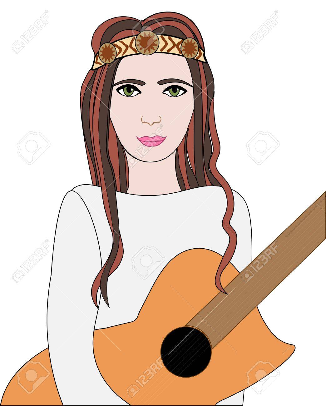 Vector Illustration Of Hippie Girl With Guitar And Headband Sign