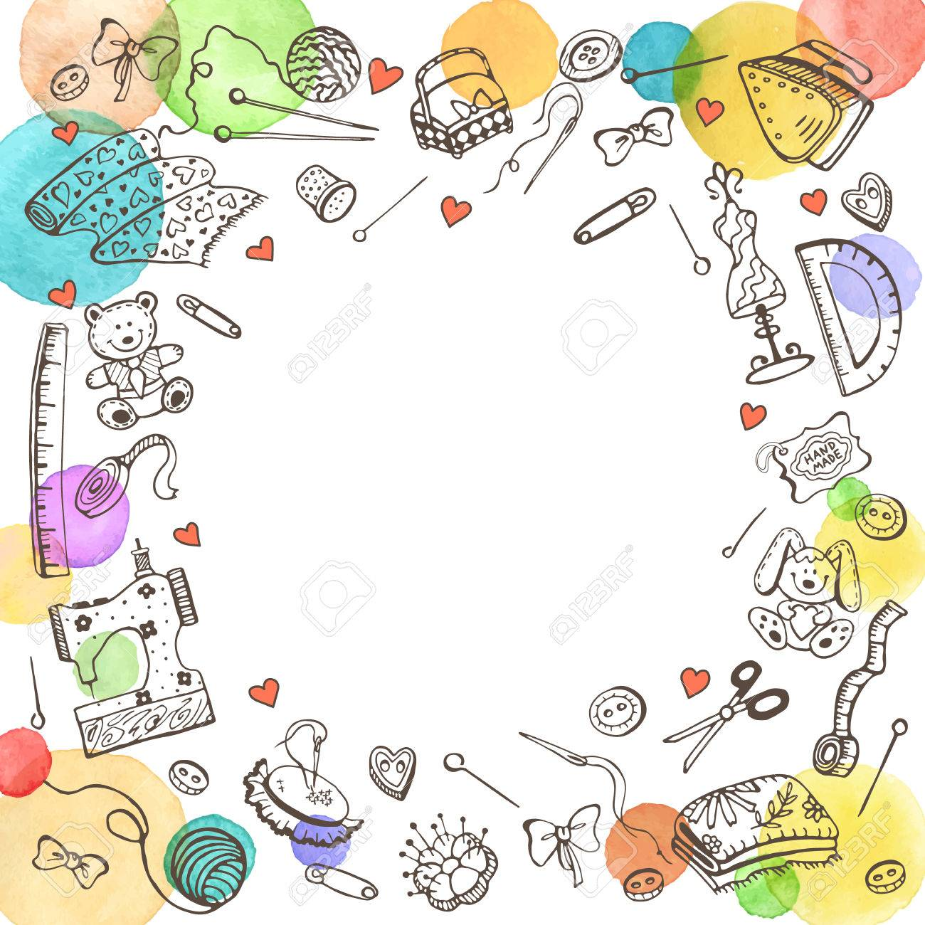 Decorative Round Frame From Craft Tools Doodle Illustration