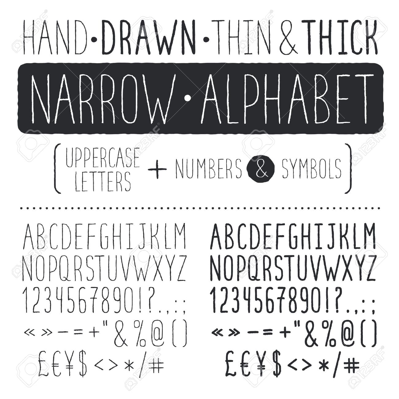 Hand Drawn Narrow Alphabet Uppercase Tall And Thin Letters Isolated On White Background Handdrawn
