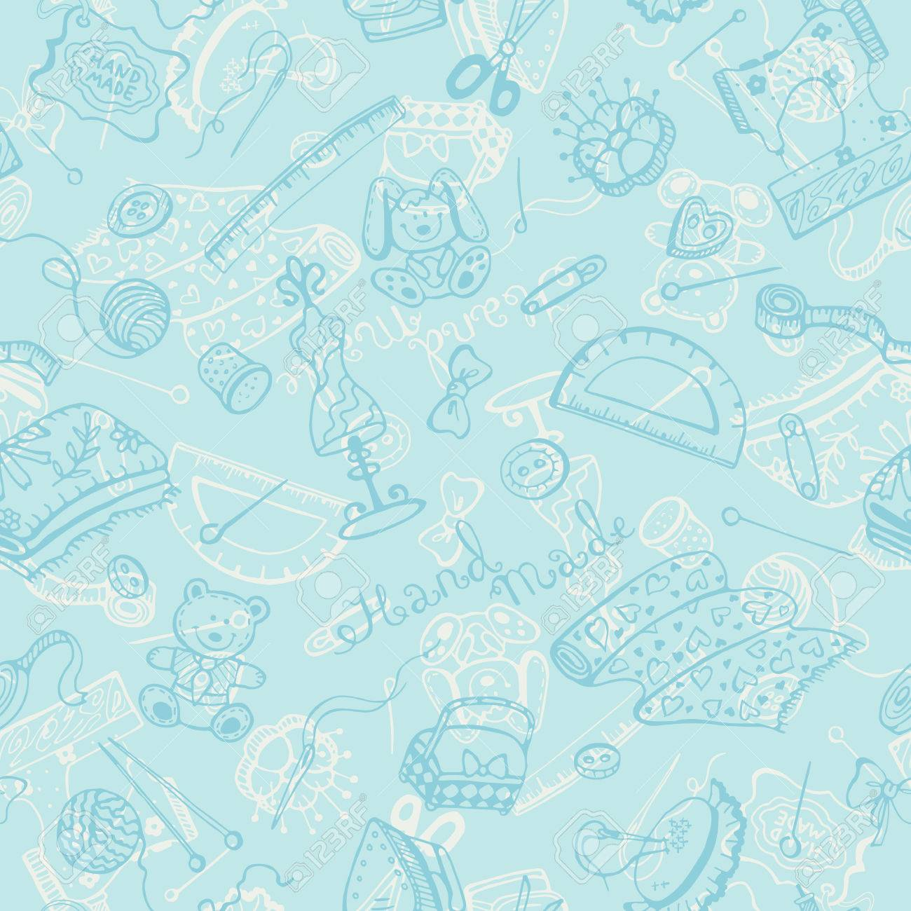 Handmade Items Background Craft Tools Seamless Pattern Royalty Free