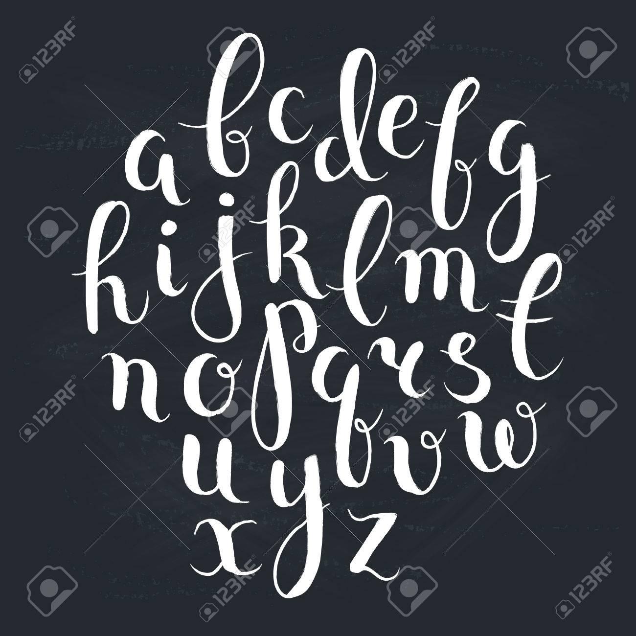 Handmade Letters Handwritten Alphabet On Blackboard Hand Drawn Calligraphy Modern Chalk Typography