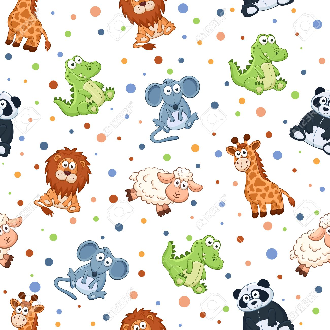 Seamless Pattern With Stuffed Toys Cute Cartoon Animals Background
