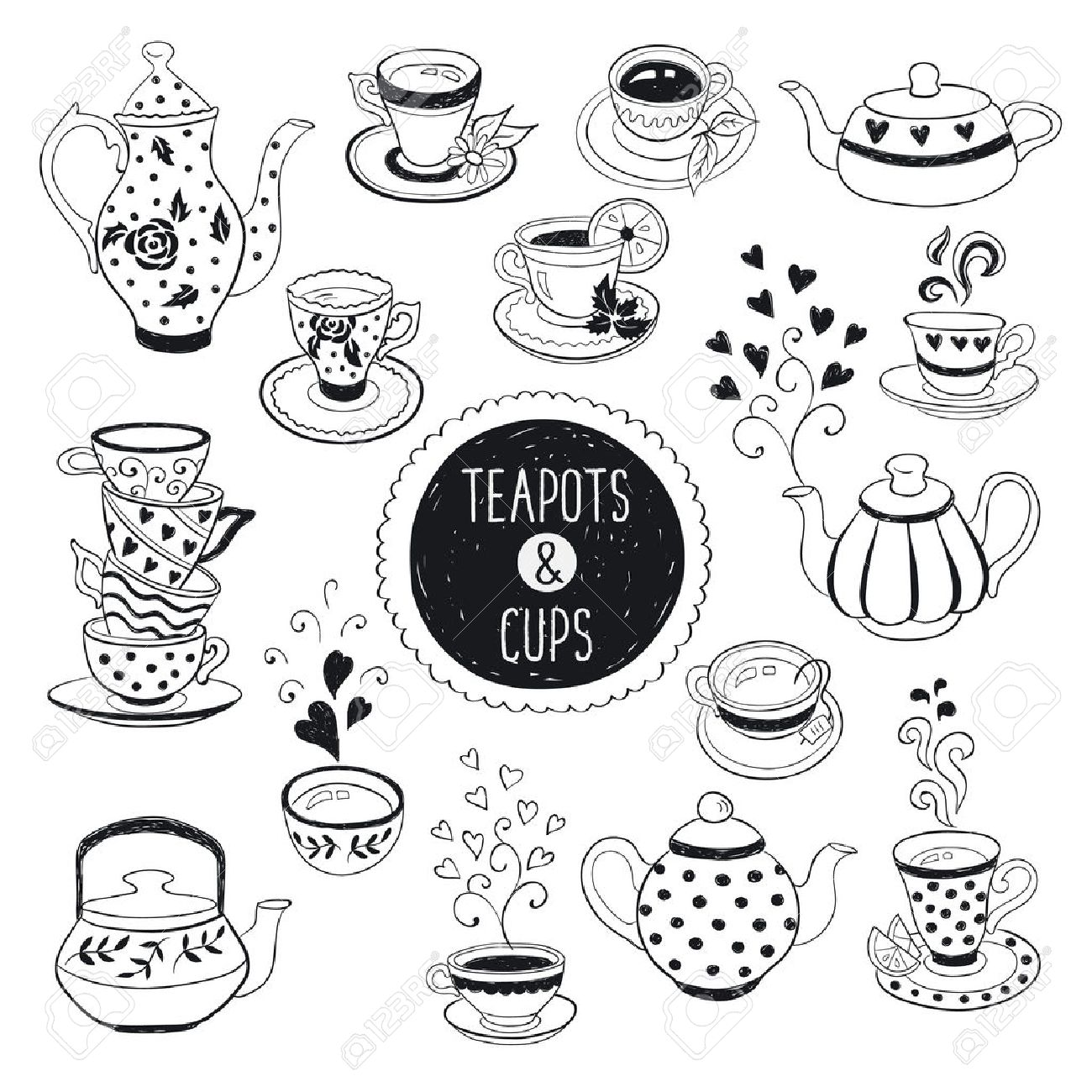 Hand Drawn Teapot And Cup Collection Doodle Tea Cups Coffee Royalty Free Cliparts Vectors And Stock Illustration Image 47489544