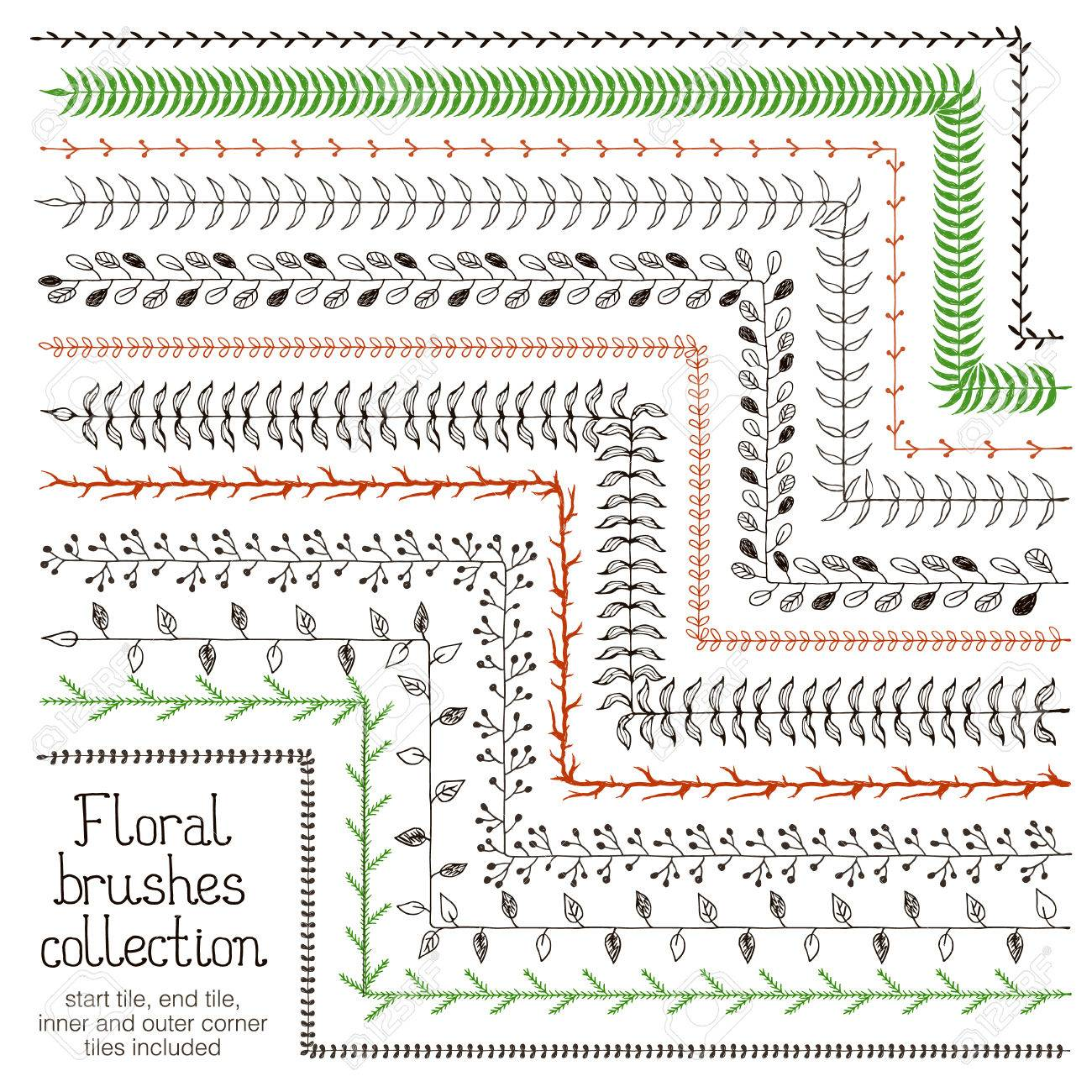 Floral Brushes For Illustrator. Hand Drawn Vector Brushes For ...