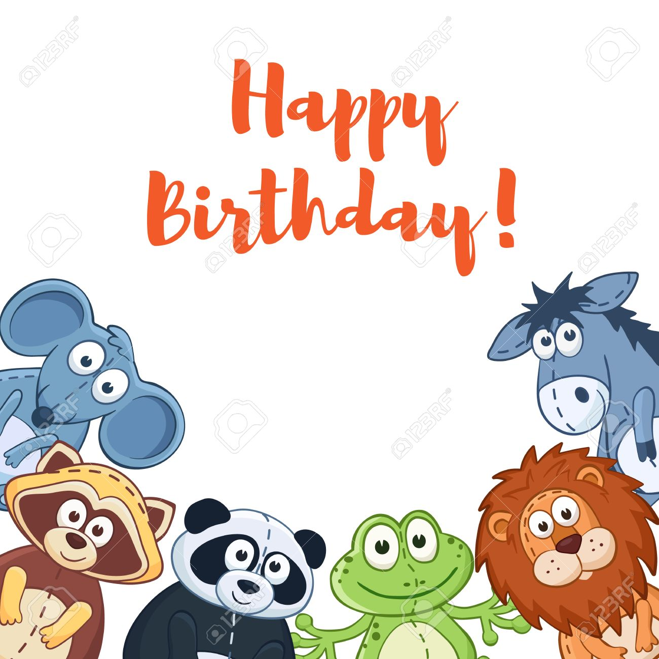 Happy Birthday Card With Cute Cartoon Animals Isolated On White Background Stock Vector