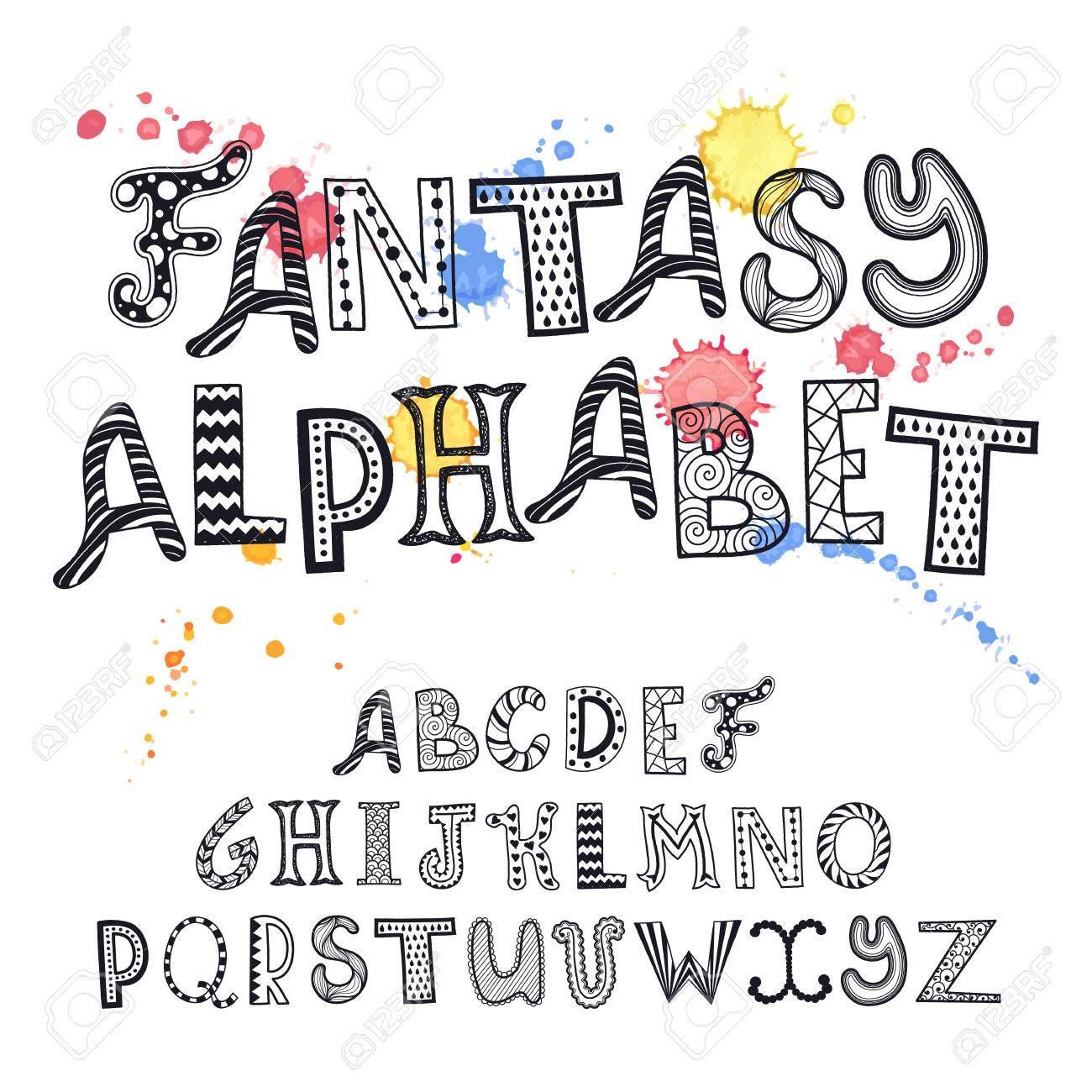 Alphabet Artistique jeu de lettres dessinées à la main de fantaisie. alphabet artistique