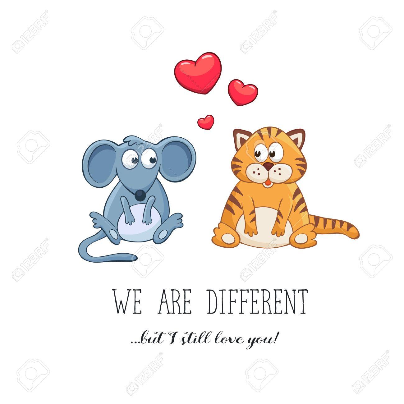 Cartoon Tiere Mit Herzen Valentinstag Lustige Grusskarte Wir Sind