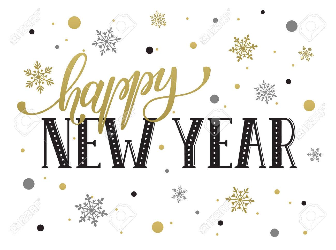 happy new year postcard template modern lettering with snowflakes isolated on white background christmas
