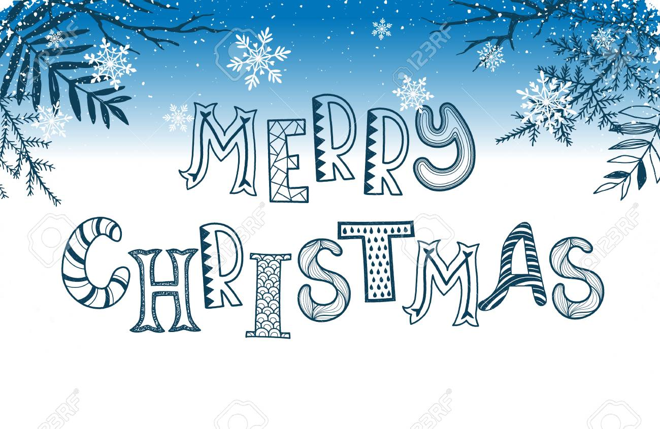 Merry Christmas Postcard Template. Winter Holidays Lettering ...